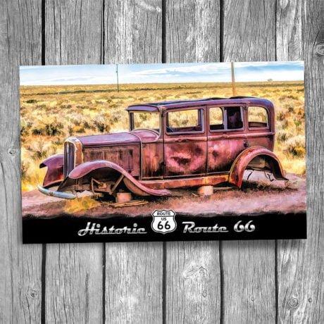66-123-Route-66-1932-Studebaker-Postcard