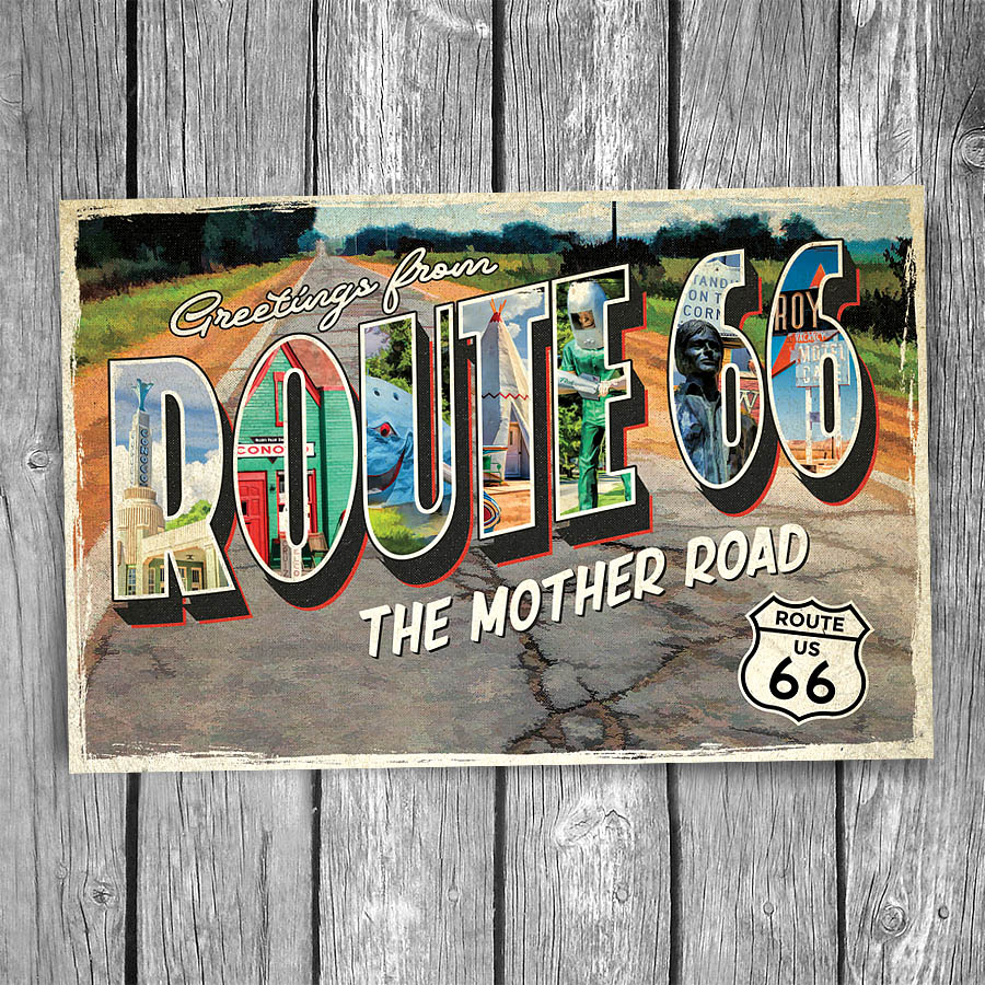 Route 66 Greetings From Ribbon Road Postcard Christopher Arndt