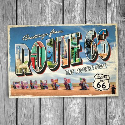 Route 66 Greetings From Cadillac Ranch Postcard