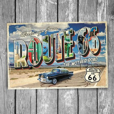 Route 66 Greetings From The Mother Road Postcard