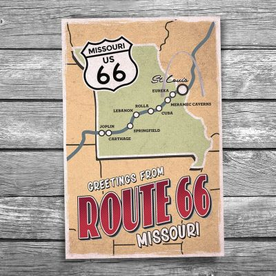 Greetings from Route 66 Missouri Map Postcard