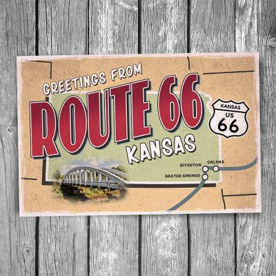 Greetings from Route 66 Kansas Map Postcard