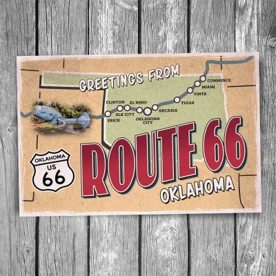 Greetings from Route 66 Oklahoma Map Postcard