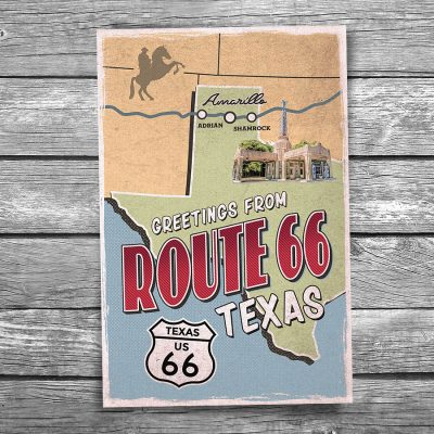 Greetings from Route 66 Texas Map Postcard