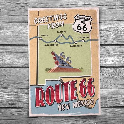 Greetings from Route 66 New Mexico Map Postcard