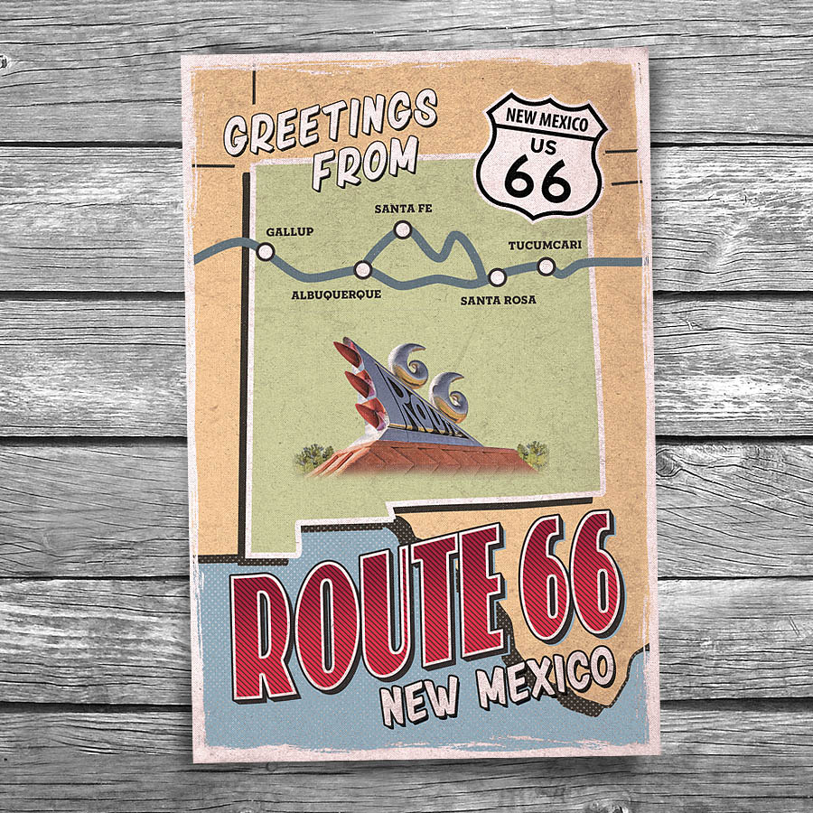 Shortest Route Between Chicago And >> Greetings from Route 66 New Mexico Map Postcard | Christopher Arndt Postcard Co.
