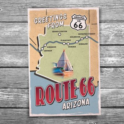 Greetings from Route 66 Arizona Map Postcard