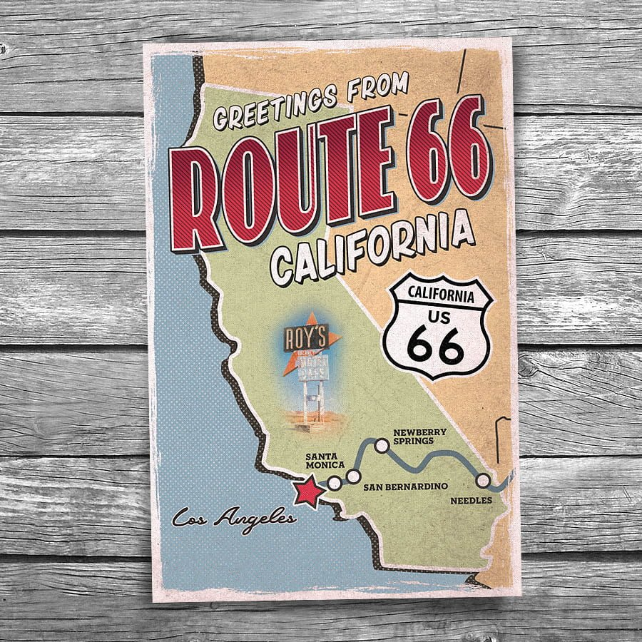 Greetings from route 66 california map postcard christopher arndt 66 140 route 66 california map postcard m4hsunfo