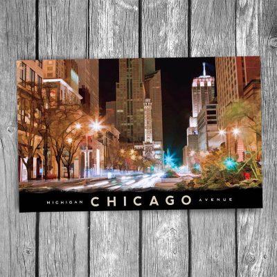 Michigan Ave at Night Chicago Postcard