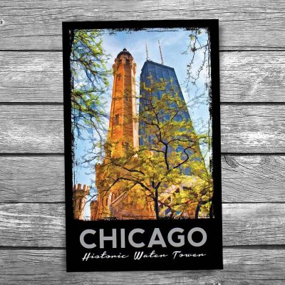 Water Tower and John Hancock Center Chicago Postcard