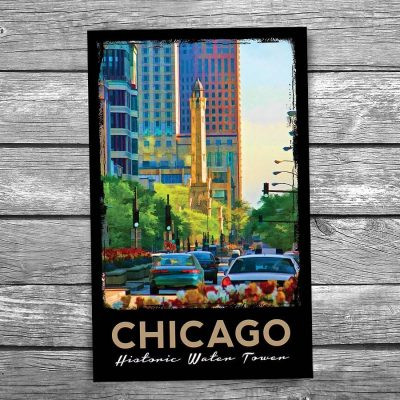 Chicago Water Tower Along Michigan Avenue Postcard