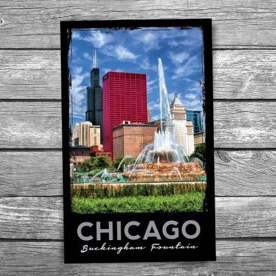 Buckingham Fountain and Willis Tower Postcard