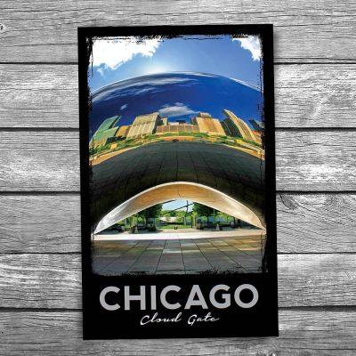 Underneath Cloud Gate Bean Chicago Postcard