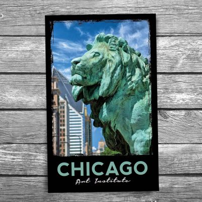 Art Institute Lion Chicago Postcard