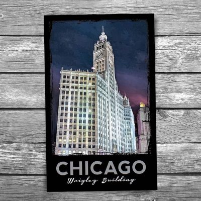 Wrigley Building at Night Chicago Postcard