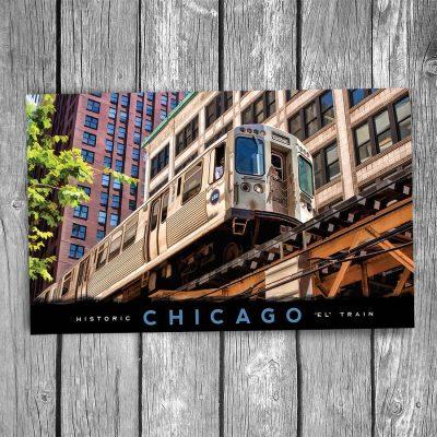 """Chicago """"EL"""" Overhead Postcard"""