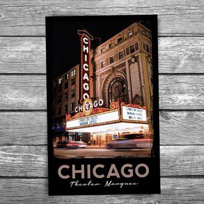 Chicago Theatre at Night Postcard