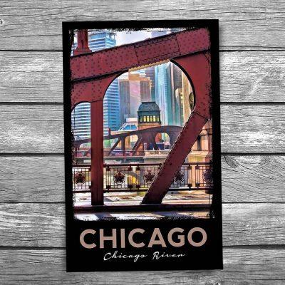 Chicago River Bridgehouse Framed Postcard