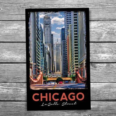 LaSalle Street Canyon Chicago Postcard