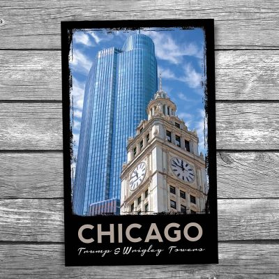 Wrigley and Trump Tower Chicago Postcard