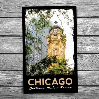 Chicago Water Tower Fog Postcard