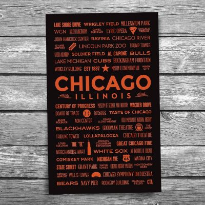 Places of Chicago Orange Postcard