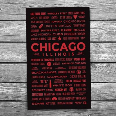 Places of Chicago Red Postcard