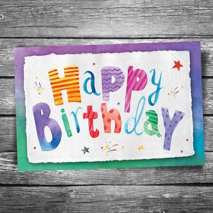 Happy Birthday Watercolor Postcard