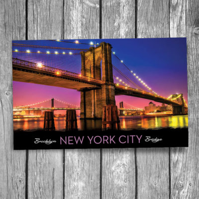 Brooklyn Bridge Sunset New York City Postcard