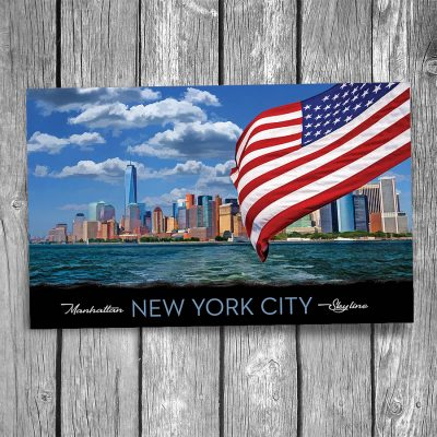 Manhattan Skyline from Ferry New York City Postcard