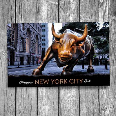 Wall Street Charging Bull New York City Postcard