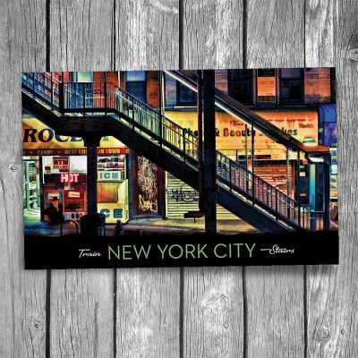 New York City Elevated Subway Stairs Postcard