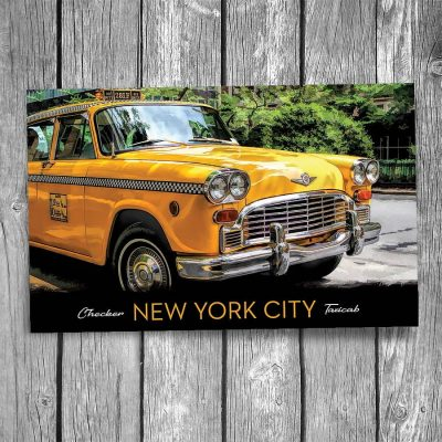 Yellow Checker Taxicab New York City Postcard